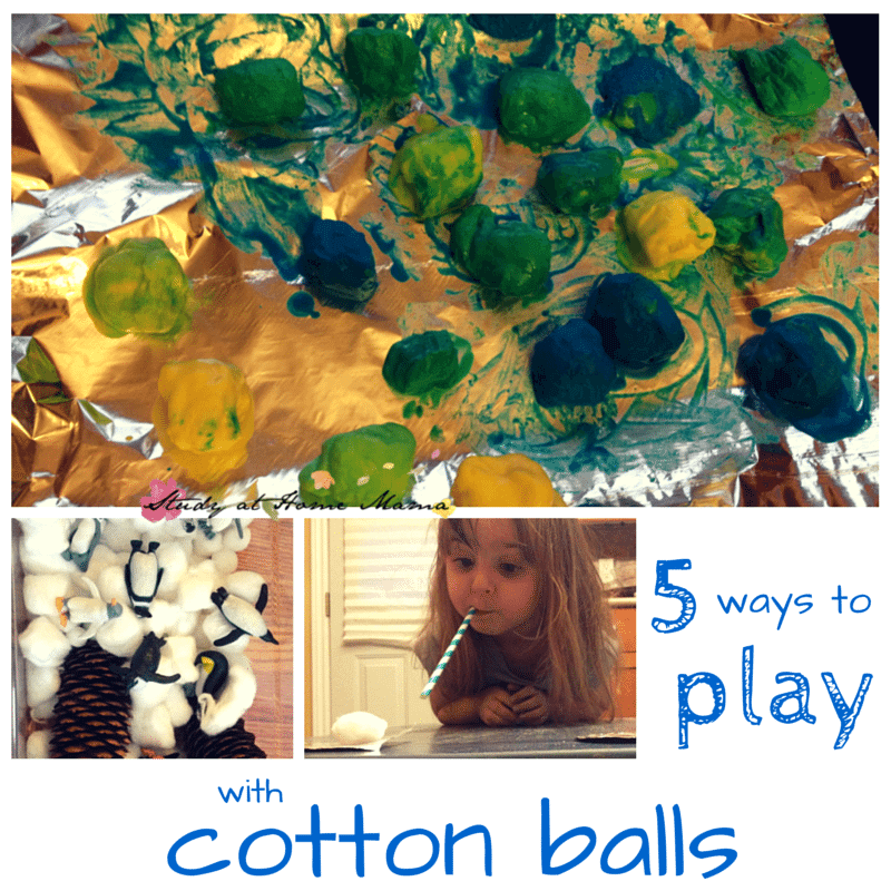 5 ways to play: cotton ball sensory play on a budget