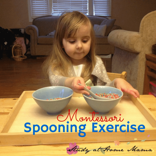 Montessori Practical Life Lesson: The Spooning Exercise - this blog also shares several other Montessori practical life lessons in easy to understand steps