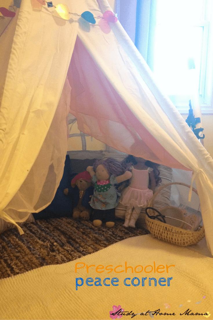 Preschooler Peace Corner: EQ set-up for the home.