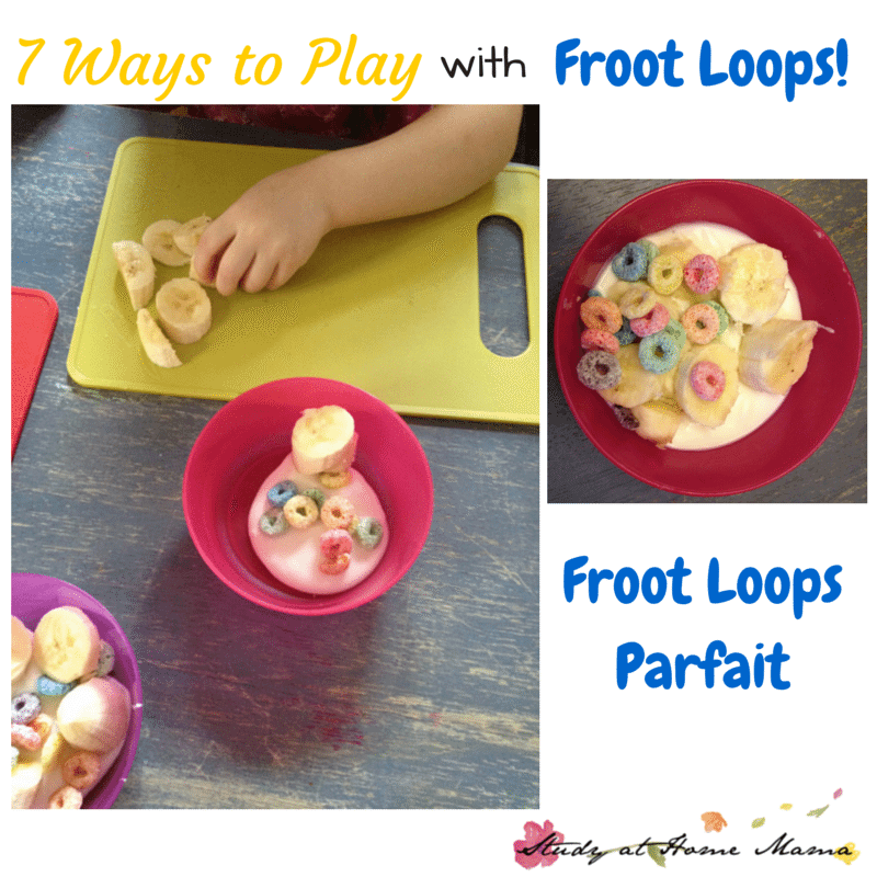 7 Ways to Play with Froot Loops: Cereal Sensory Bin, Froot Loops Parfait, and more frugal sensory play ideas!