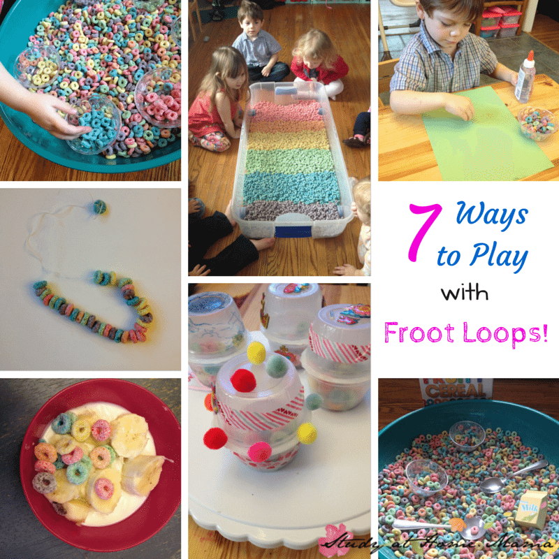 7 Ways to Play with Froot Loops! Frugal sensory play ideas using Froot Loops!