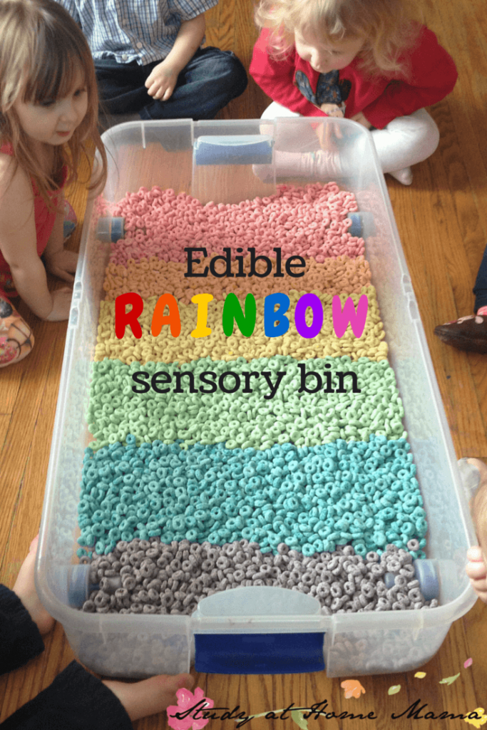 Edible Rainbow Sensory Bin for Toddlers - Froot Loops sensory fun!