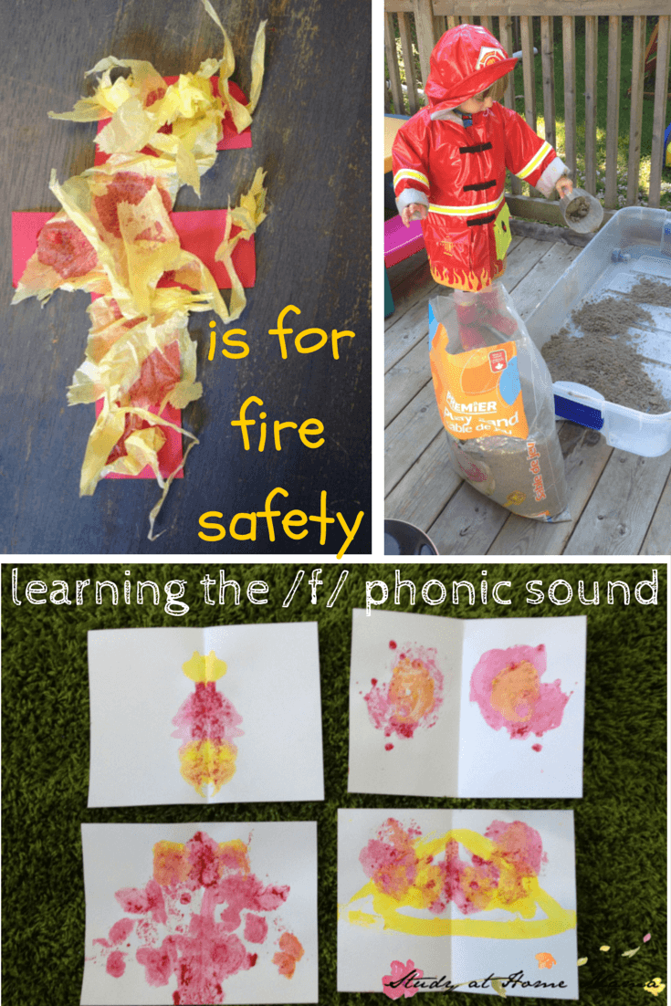 F is for fire safety: learning the f phonic sound, part of a learning letter sounds series of mini unit studies