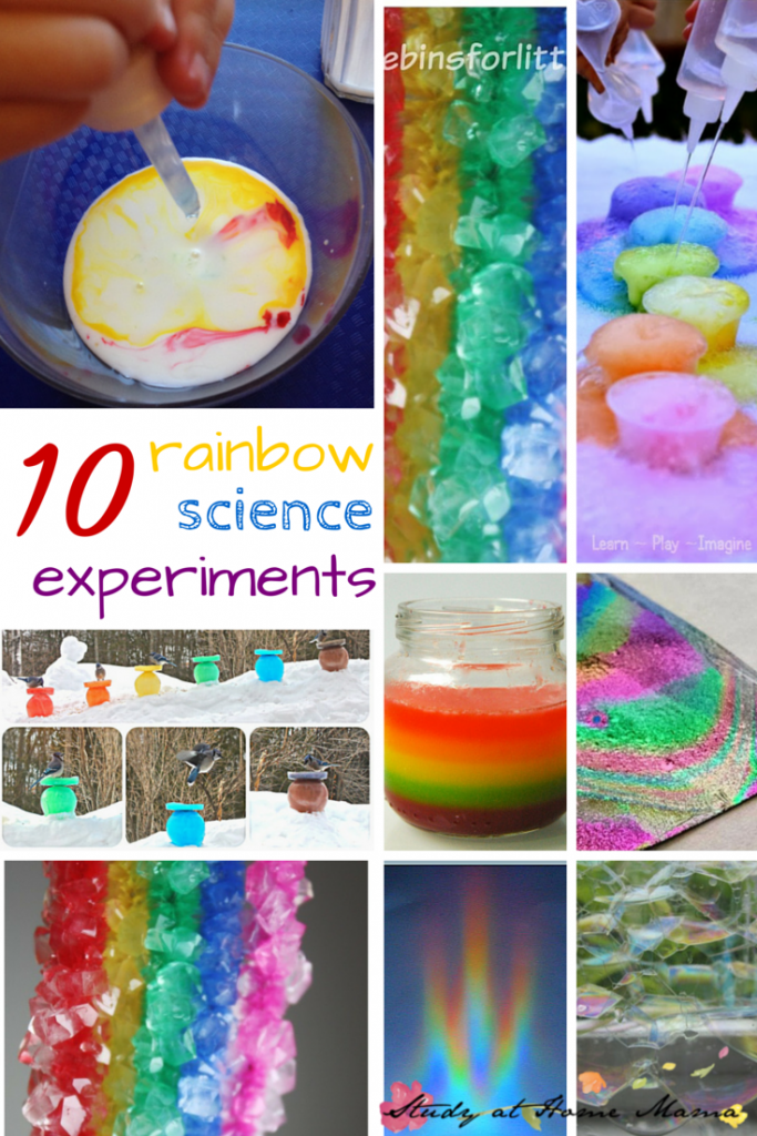 10 Rainbow Science Experiments - part of 50+ rainbow activities & snacks!