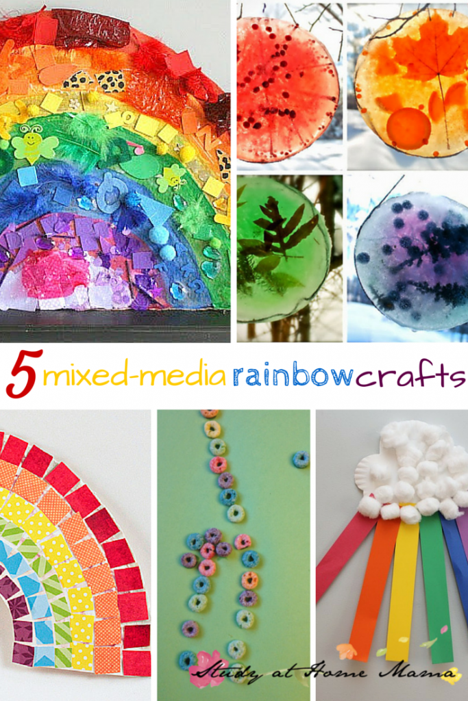 5 mixed-media rainbow crafts -- part of 50+ rainbow activities and snacks!