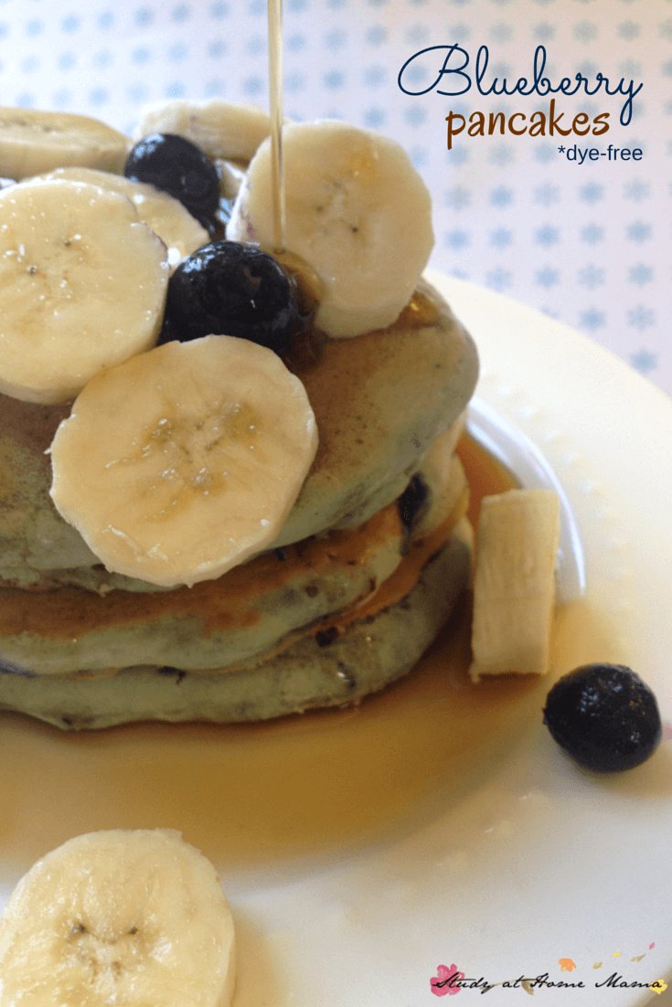 These Blueberry pancakes are a protein-rich, easy breakfast idea for the kids. The blueberries give the pancakes a blue hue without any dye, making these a great healthy breakfast option!