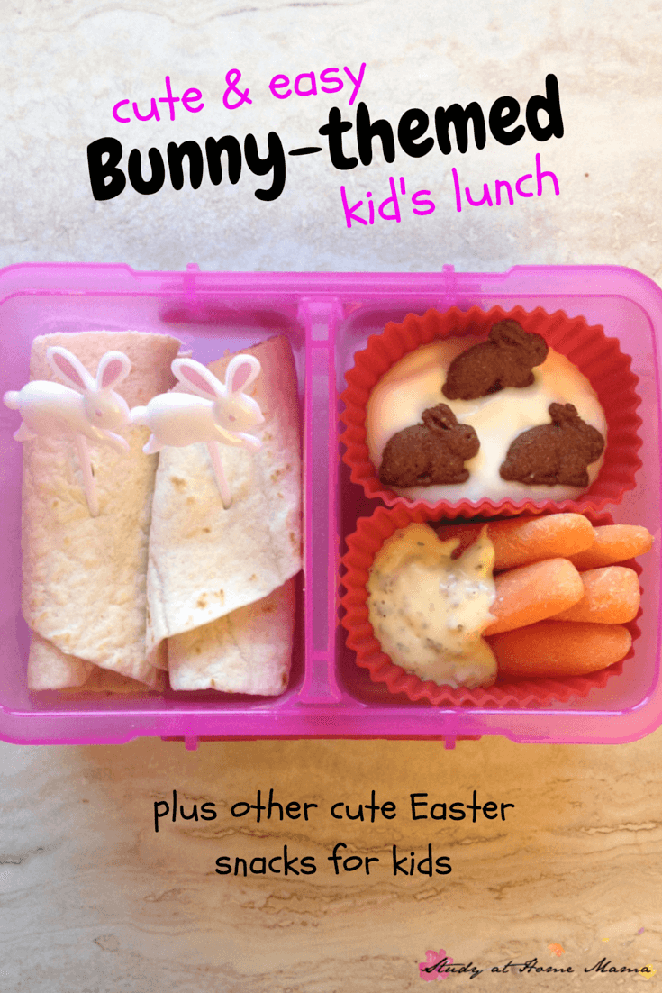 Cute & Easy Bunny-themed Kids lunch for Easter or just for fun! Plus other cute Easter snacks and lunch ideas