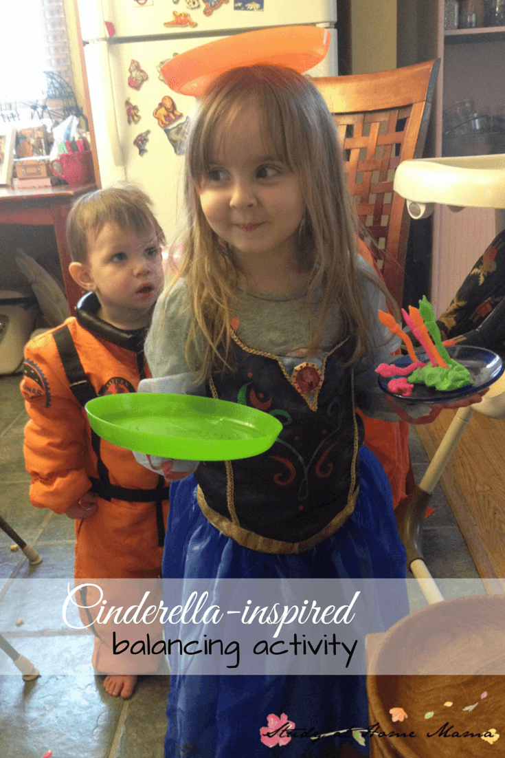Cinderella-inspired Montessori activities: Cinderella gross motor balancing activitiy -- one of many as a part of a Cinderella unit study!