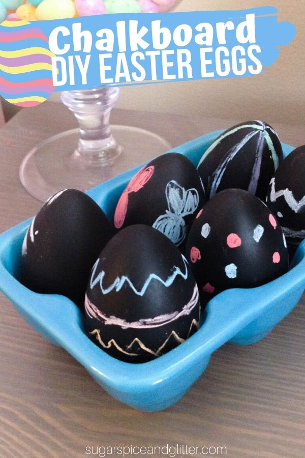 A super simple tutorial for DIY Chalkboard Easter Eggs, an unexpected decor piece that kids can decorate over and over again