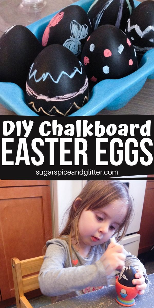 How gorgeous are these DIY Chalkboard Easter Eggs? 10 minutes to make and the kids can decorate them over and over again