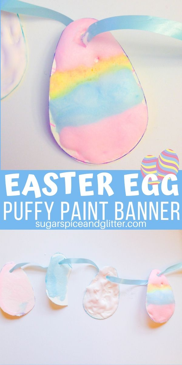 A simple, three-ingredient recipe for making homemade puffy paint, plus a cute Easter craft for kids to use it on that doubles as Easter decor