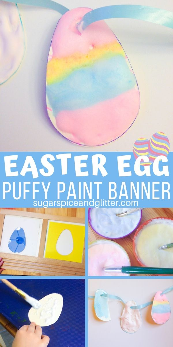 You just need three basic craft supplies to make this DIY Puffy Paint! Use it to make pretty, puffy Easter Eggs and turn them into an Easter banner