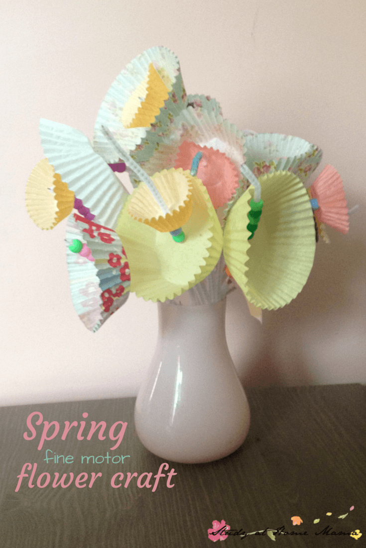 This easy spring flower craft for kids is also a fine motor activity -- would be a perfect Mother's Day craft!