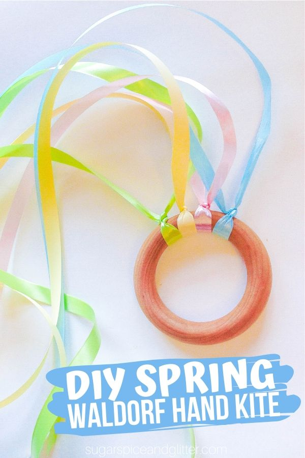 Quick and easy Spring craft for kids that uses Montessori Practical Life skills to make. This DIY Spring Waldorf Hand Kite is a great homemade toy for kids, perfect for a homemade Easter gift