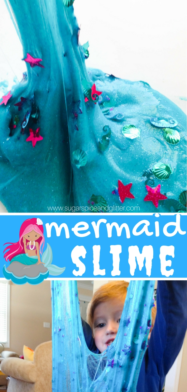 Squishy, slimy, cool mermaid slime is one of our all-time favorite sensory play recipes! This slime recipe is super glittery and stretchy