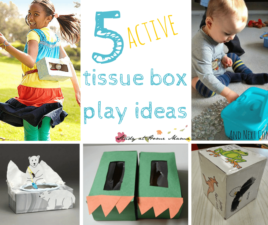 5 ACTIVE Tissue Box Play Ideas - part of 20 Tissue Box Play & Kid Craft Ideas