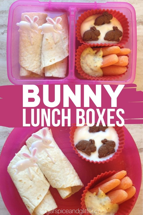 A super simple Bunny-themed lunch idea for kids, plus 12 other bunny lunch box ideas that also work as fun Bunny-themed afterschool snacks