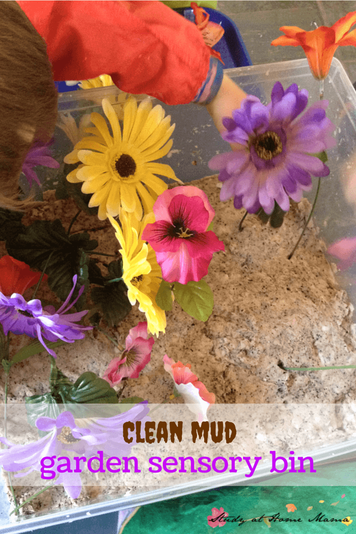 Clean mud Garden Sensory Bin - one of 7 ways to play with flowers and a great flower sensory activity for kids