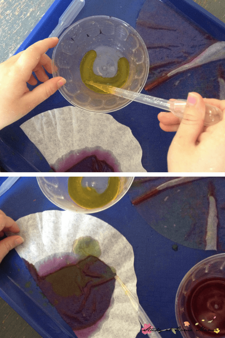 Using pipettes to make a coffee filter craft