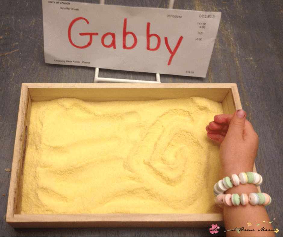Learn to Write Name: 7 Ways: Write in a Cornmeal Tray