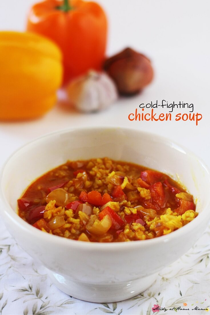 Easy Healthy Recipe for Cold-fighting Chicken Soup, made with flavourful spices and nutrient-rich vegetables. Also makes a great gift for a friend who is under the weather