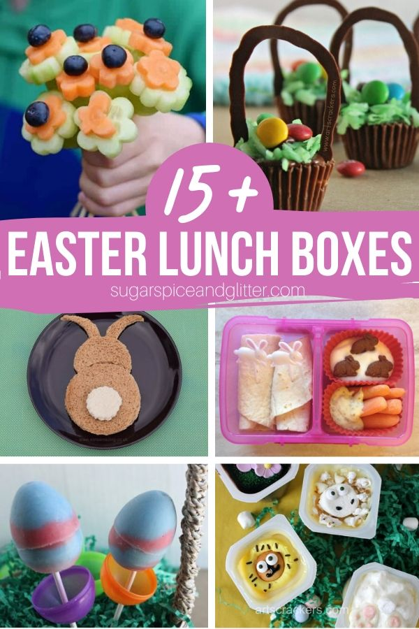 So many cute Easter lunch box ideas and bunny snack ideas - perfect for school lunches or a special bunny dessert for kids