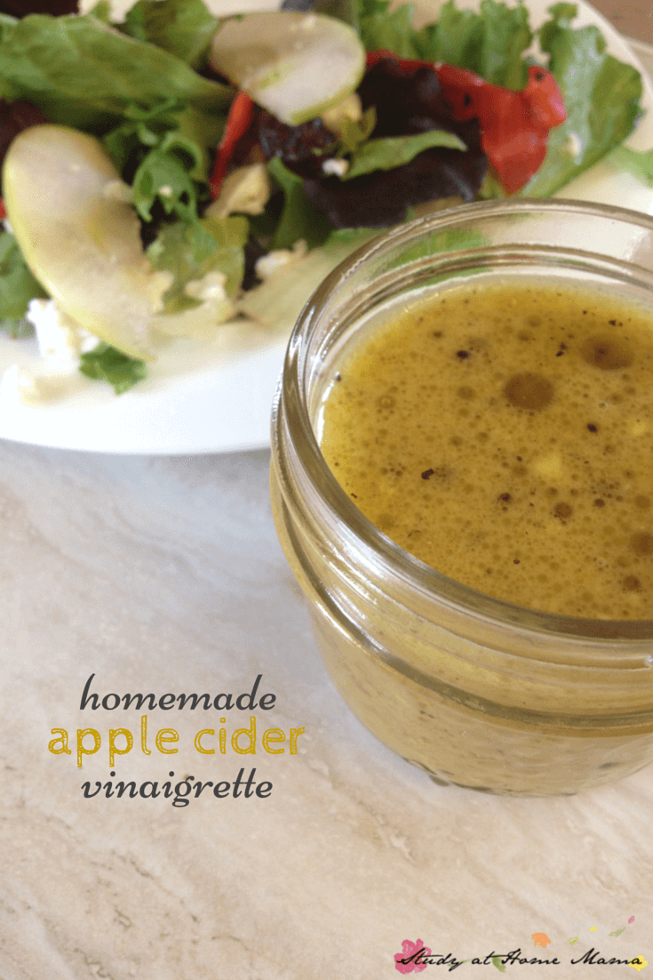 Homemade Apple Cider Vinaigrette; easy and quick apple cider salad dressing. An easy healthy recipe to keep in the fridge