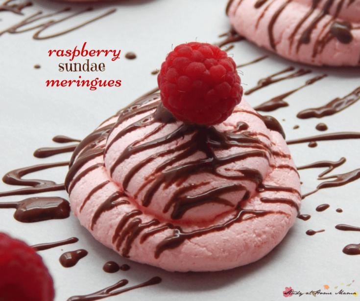 Raspberry Sundae Meringues