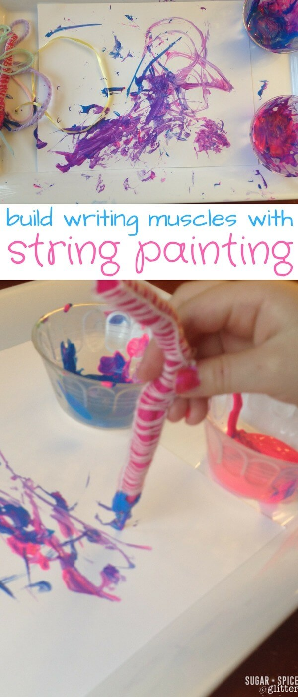 Painting with String is a silly activity that also helps build finger muscles needed for writing - this activity is the perfect way to use up leftover scraps of string, ribbon and wool
