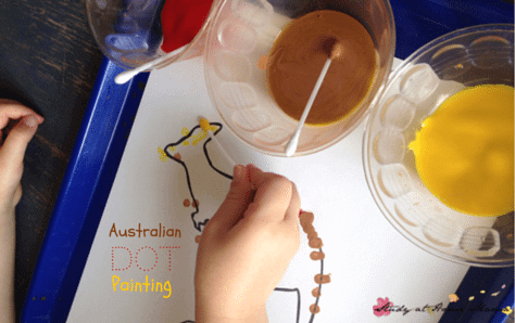 Australian Dot Painting: Australia Craft for kids to learn about Aborigine culture as part of an Australia unit study. A great craft for fine motor development, too!