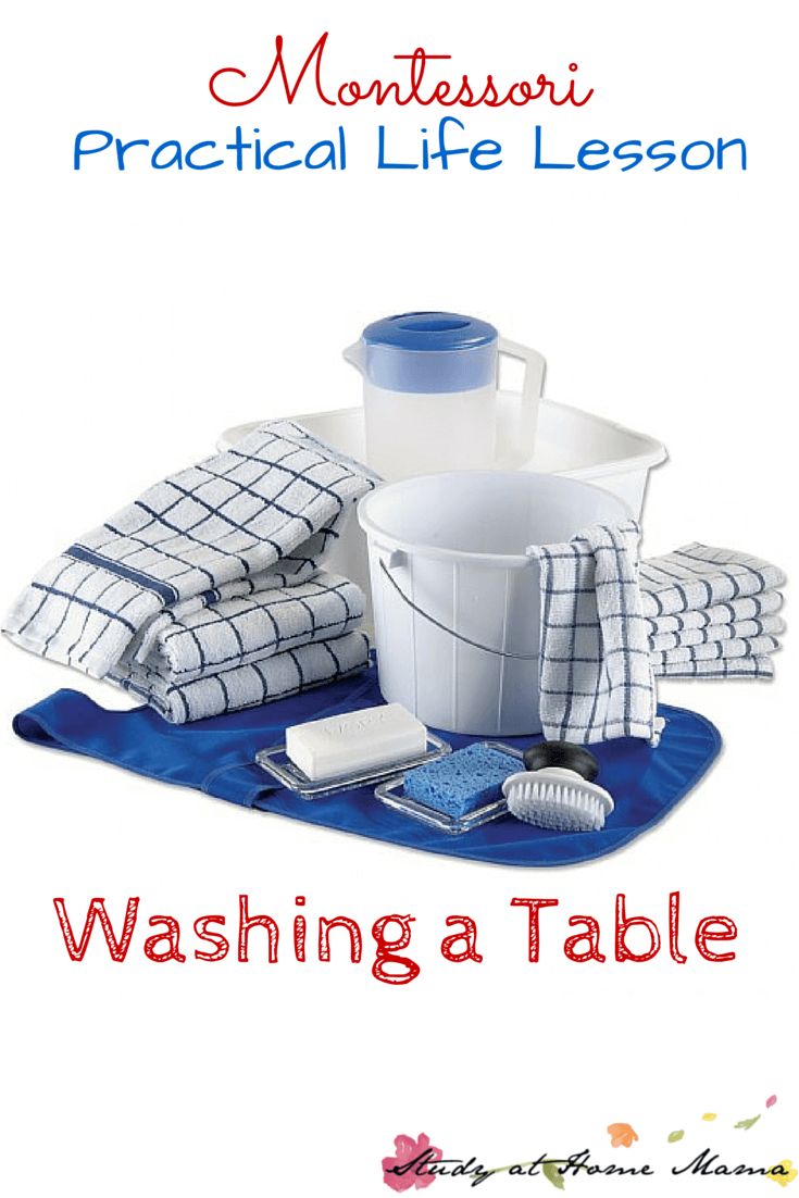 Montessori Practical Life Lesson: Washing a Table. An easy and fun practical life activity for kids that allows them to help clean up after art, or set up for snack time