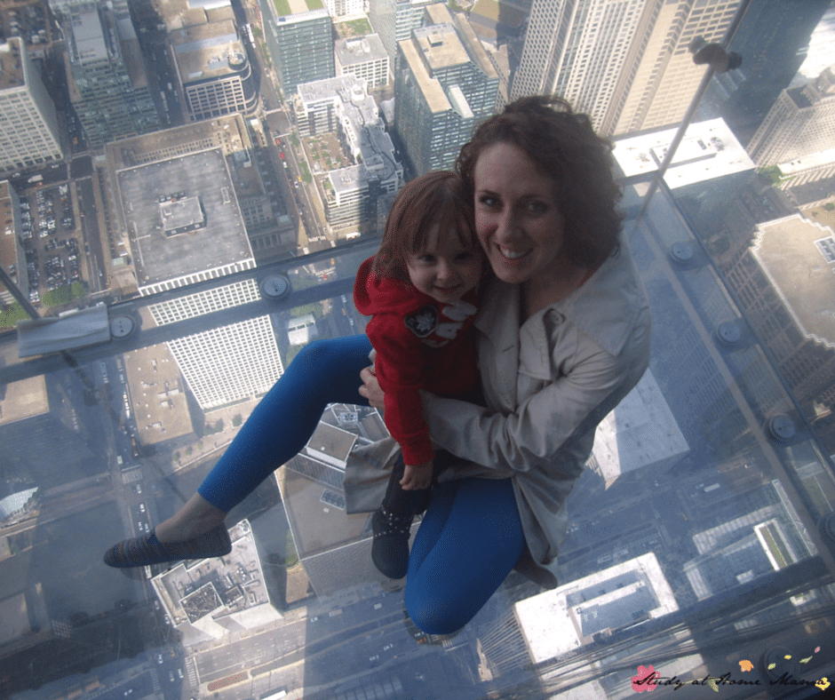 Sitting on the Skydeck in Chicago - and sharing our top Chicago restaurants for foodies with kids!