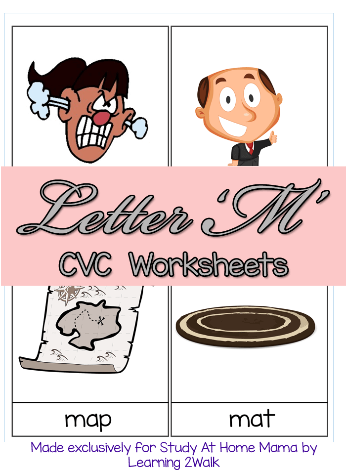 Letter M CVC Worksheets - Montessori 3 part card printables and fill in the black cards to teach your child to read