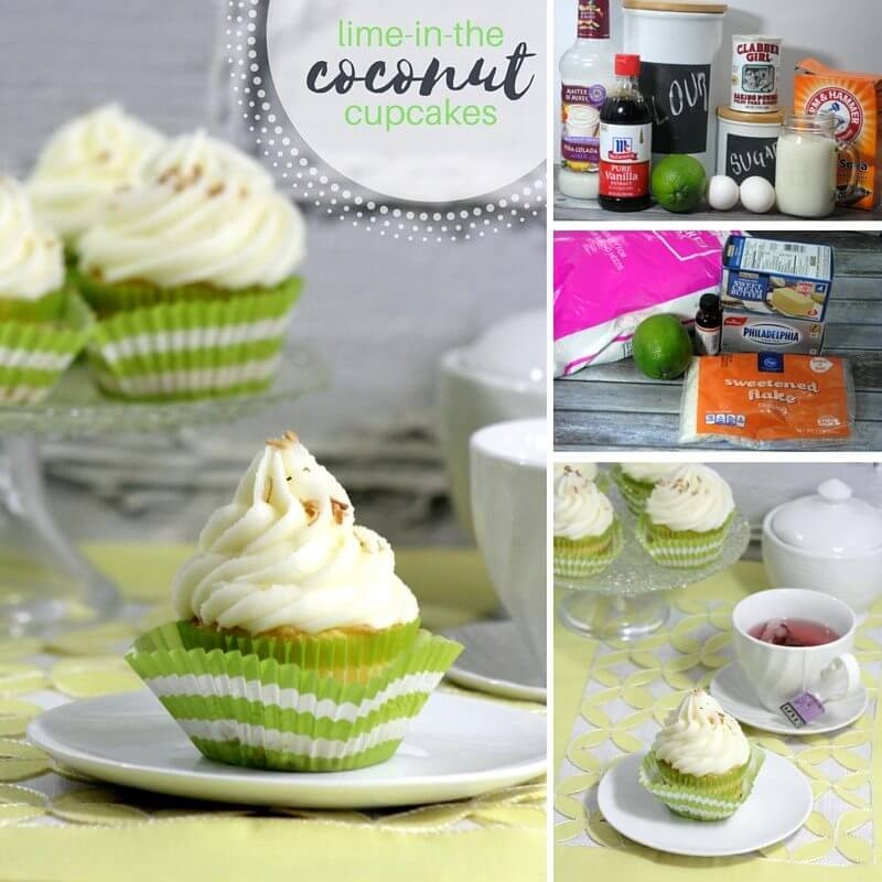 A delicious twist on coconut cupcakes - these lime coconut cupcakes are like a margarita in cake form! A sophisticated twist on cupcakes perfect for girl's night or your next summer barbecue dessert