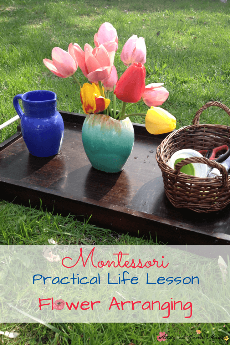 Montessori Practical Life Lesson: Arranging Flowers - a great hands-on way to teach order, observe flowers, and start exploring botany for kids!