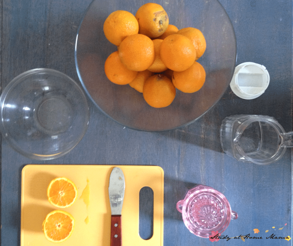 Setting up for Montessori Practical Life Lesson on Making Orange Juice with Kids
