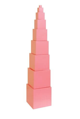 Pink Tower - This Montessori teacher picks her top Montessori Sensorial materials for doing Montessori at home
