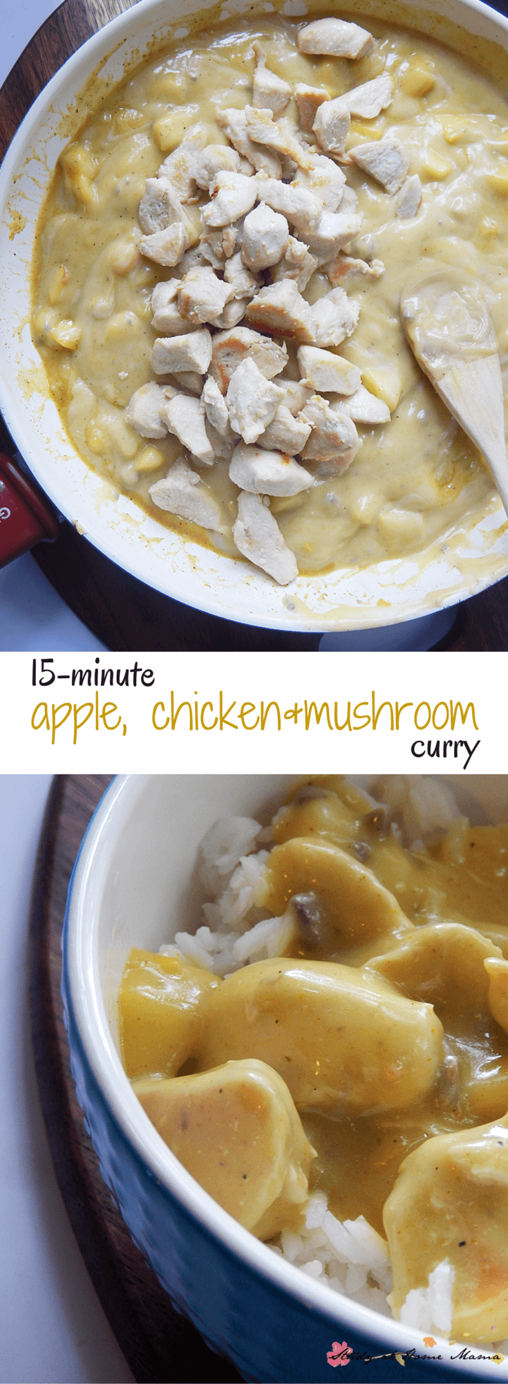 15-minute Apple, Chicken & Mushroom curry recipe - an easy healthy recipe for when you need a quick supper idea!