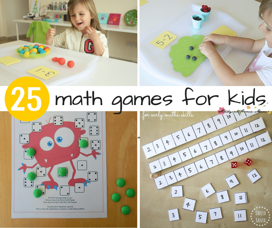 An amazing collection of 25 Math Games for kids! There are so many great ideas for teaching math in here, especially for hands-on learning