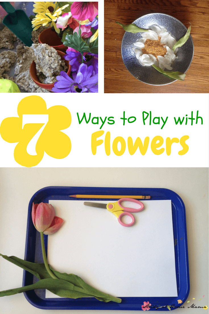7 Ways to Play with Flowers - use your old, wilting flowers for some fun sensory activities for kids and learn with flowers along the way!