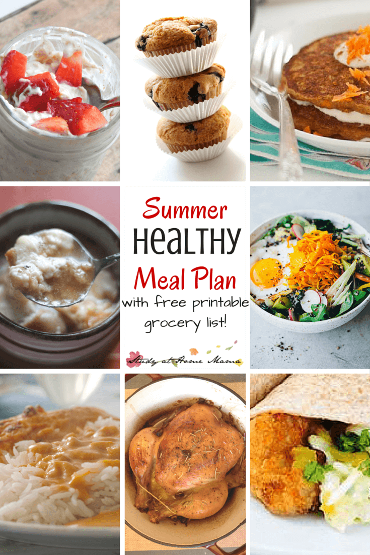 7 day Healthy Meal Plan - free printable meal plan and grocery list, full of healthy summer favourites