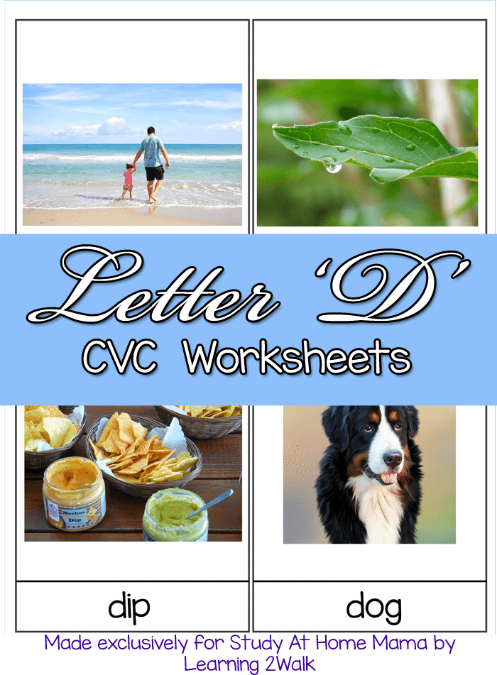 letter d cvc worksheets free montessori 3 part cards for learning cvc words starting with