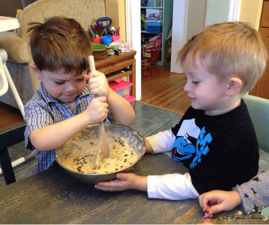 Taking turns and having separate children stir wet or dry ingredients makes having kids in the kitchen a bit easier!