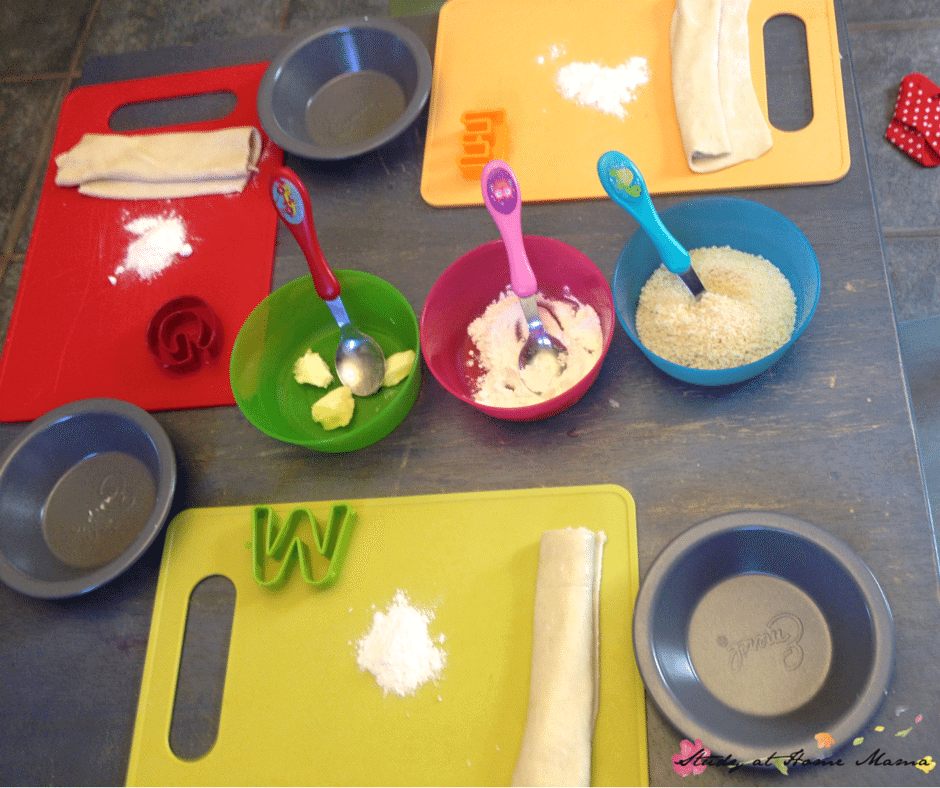Kids Kitchen set-up to make an easy healthy recipe for blueberry pie. Simple kids kitchen tools allow for independence and kitchen skills building