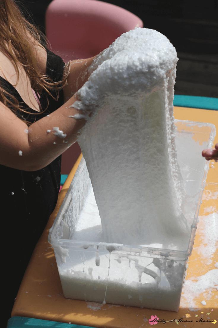 Look at that amazing stretchy, squishy, fluffy slime - the best sensory activity for kids!