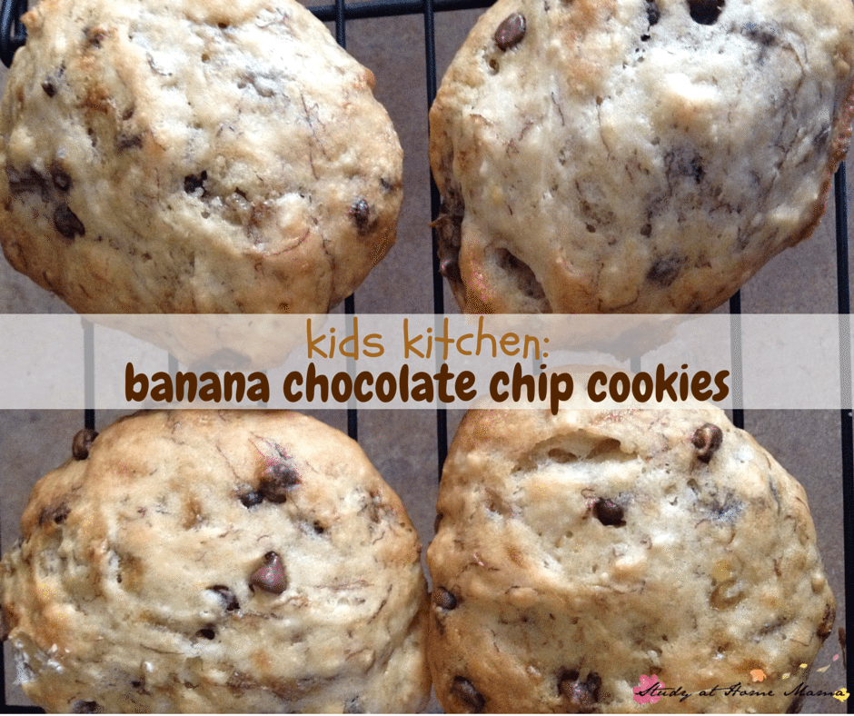 Kids Kitchen: Soft Banana Chocolate Chip Cookies are the perfect cookie for kids to make - no mixers required!