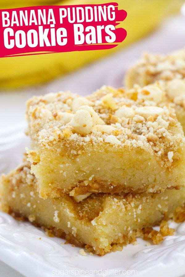 Banana Pudding Cookie Bars are a fun twist on a classic banana pudding recipe in a convenient, easy-to-serve bar. Graham cracker crust, white chocolate chips and a gooey banana pudding center - the perfect summer dessert for your BBQ or summer party