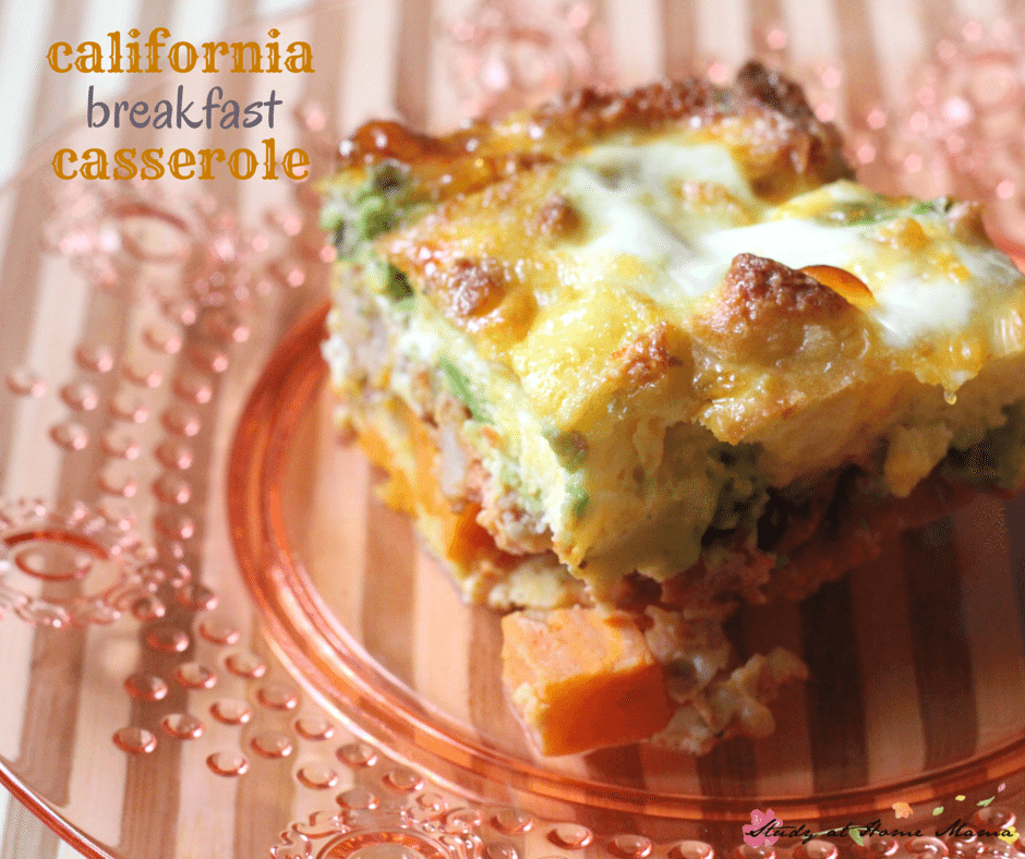Easy healthy recipe for a quick breakfast casserole, this California breakfast casserole can be made the night beore, making your morning routine run a lot smoother - as long as you remember to put it in the oven!