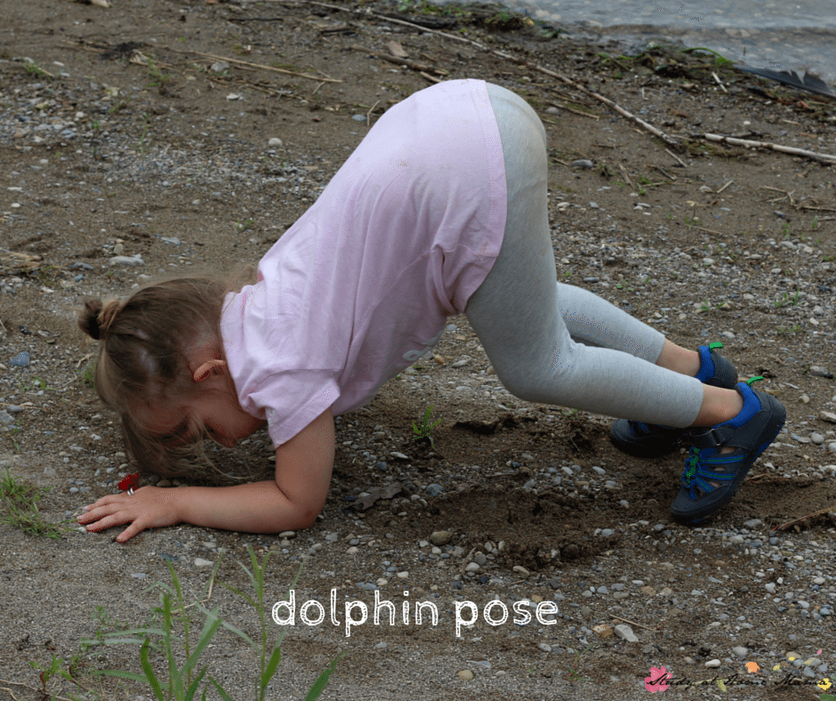 Dolphin pose  is a great yoga pose for kids and part of this beach-themed yoga sequence for kids