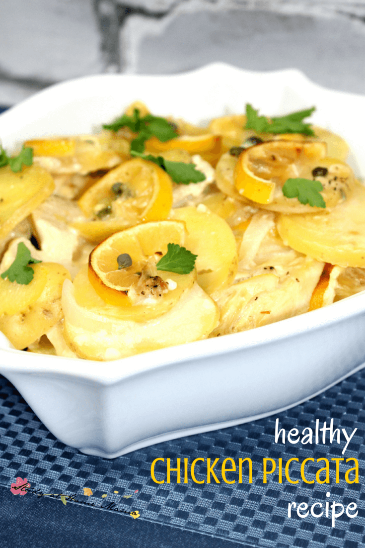 An easy, healthy recipe for healthy chicken piccata recipe. A lightened lemon caper chicken casserole that your family will love!